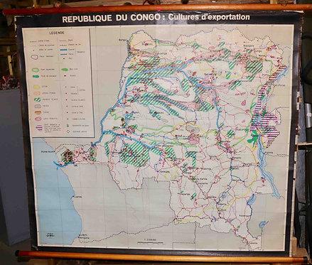 Carte scolaire didactique République du Congo cultures d'exportation