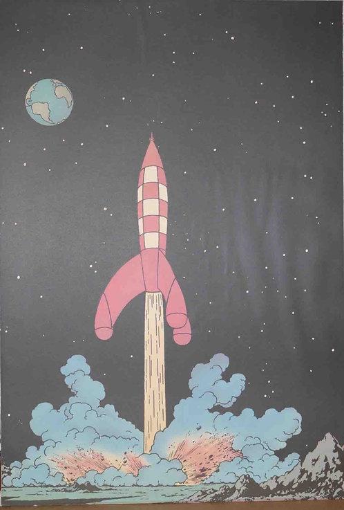 Affiche Tintin On a marché sur la Lune décollage de la fusée