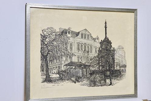 Gravure place du Marché Liège 1979 numérotée et signée