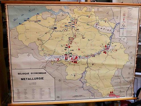 Carte scolaire didactique La Belgique économique métallurgie