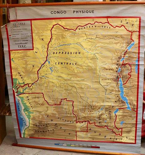 Carte scolaire didactique Congo physique