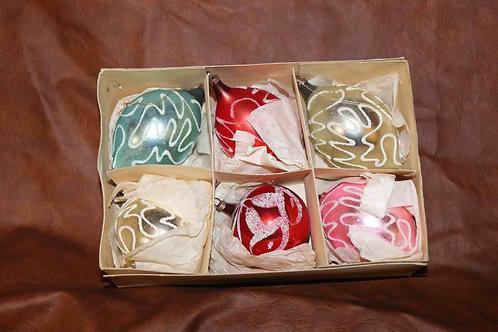 Boîte de 6 boules de Noël de couleurs en verre