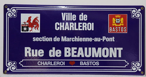 Plaque émaillée de rue Charleroi rue de Beaumont