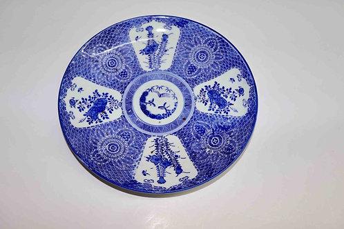 Superbe plat en porcelaine japonaise bleue et blanche - Arita - XIXème