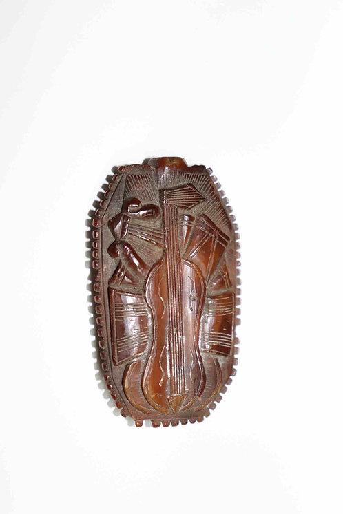 Tabatière en noix de corozo (ivoire végétal) - travail de marin  XIXème