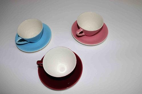 3 tasses et sous-tasses Boch Frères pastel 1963
