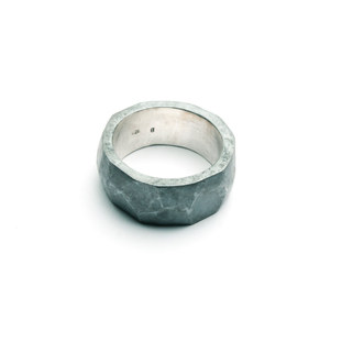 Mens chunky faceted ring