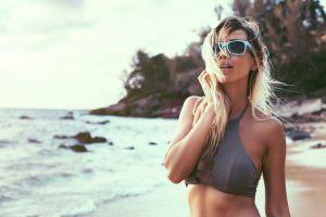 A girl on the beach.