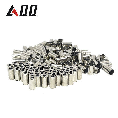 AQQ 100/50pcs Bike Brake Derailleur Shifter Cable End Caps Silver Metal Bicycle