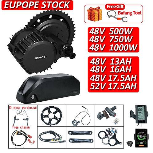 BAFANG Kit 750w/500w/1000w Mid Drive Motor Ebike Conversion Kit With Battery 48V