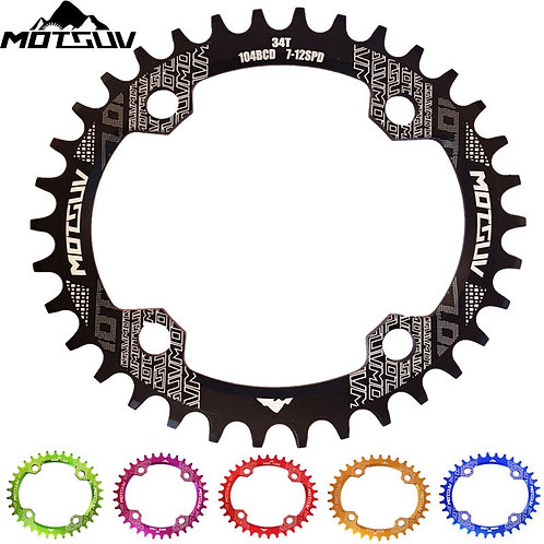 MOTSUV Bicycle Crank 104BCD 32t/34t/36t/38t Oval Chainring Narrow Wide MTB Bike