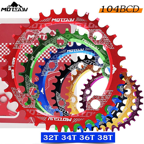 Bicycle Crank 104BCD Round Shape Narrow Wide 32t/34t/36t/38t MTB Chainring Bicy