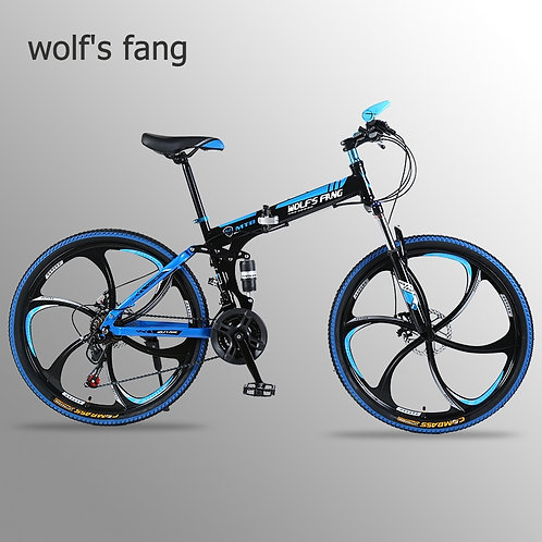 Wolf's Fang Bicycle Folding Mountain Bike 26 Inch New 21 Speed Road Bikes Fat Sn