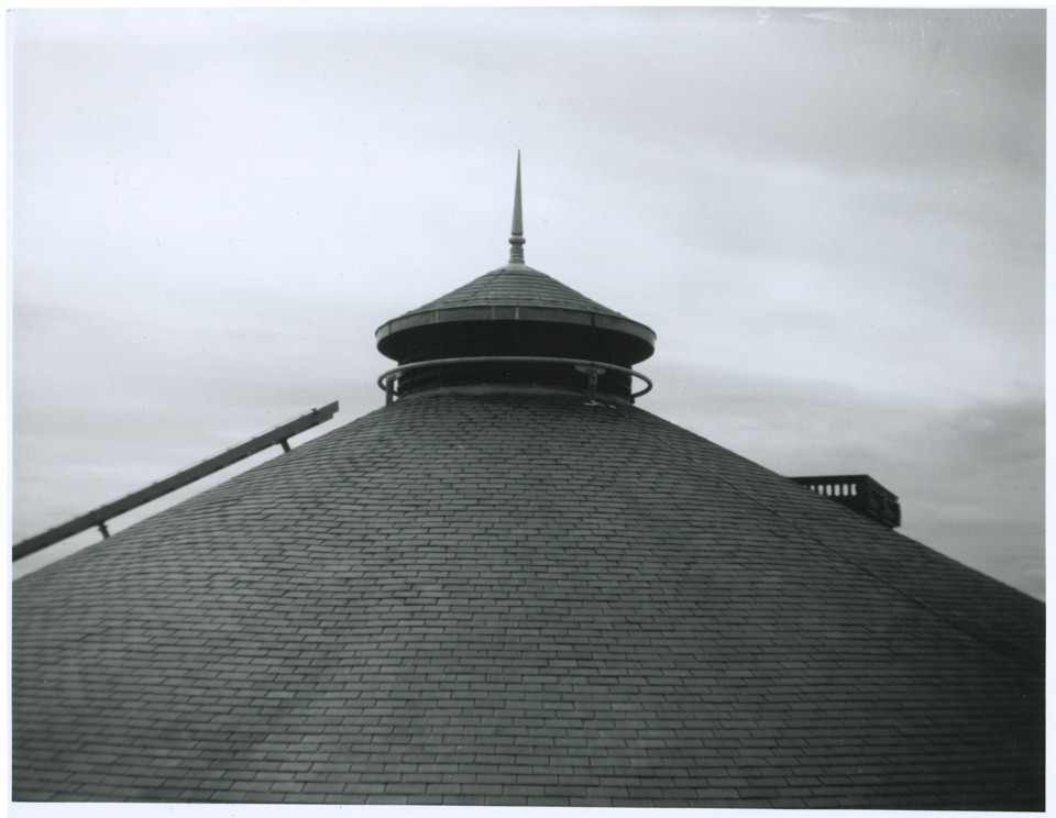 Black and white photo of roof top shot on vintage camera