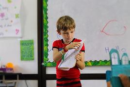 Elementary student presenting at school in Samara, Guanacaste, Costa Rica