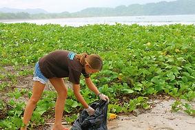 Beach clean up at school in Samara, Guanacase, Costa Rica