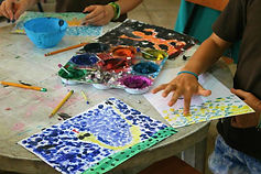 Students doing arts and crafts and painting in Samara, Guanacaste, Costa Rica