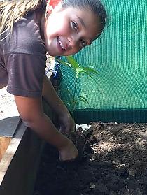 Gardening at school in Samara, Guanacaste, Costa Rica