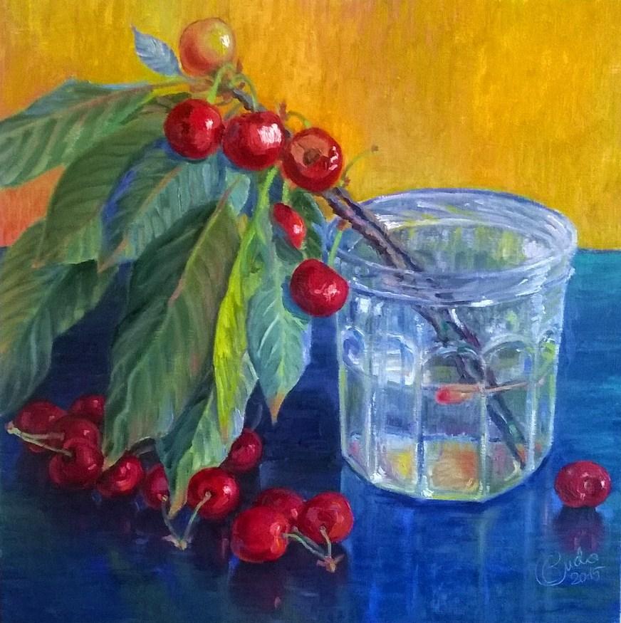 Brindilles de cerisiers en pot de confiture