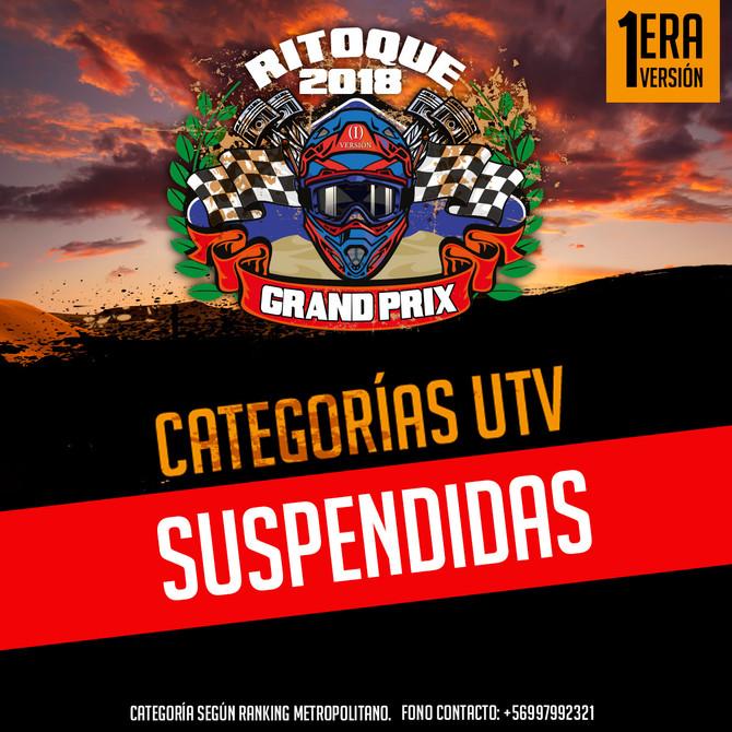 Categorias UTV suspendidas