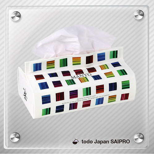 綿布ティッシュボックスカバー  TBox-007:万葉カラー2(カラーブロック
