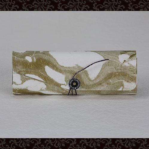 和紙ペンケース(ひもタイプ)折りたたみ式 ゴールド+ホワイト