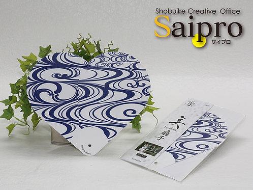 S-010 ハート型 うちわ扇子『流 水』(ホワイト&ブルー)