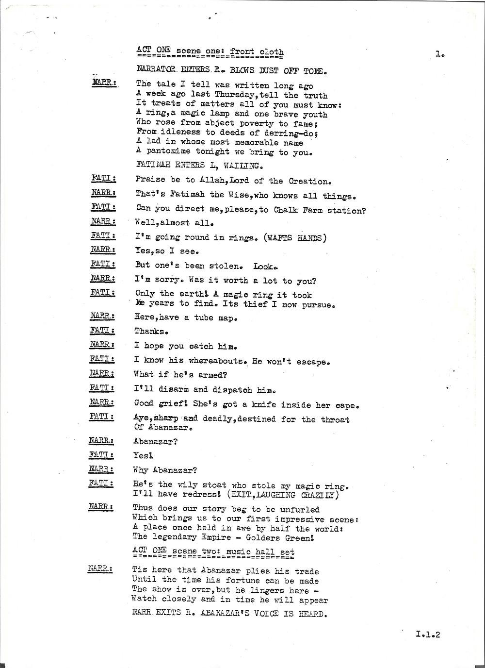 Facsimile of original panto script