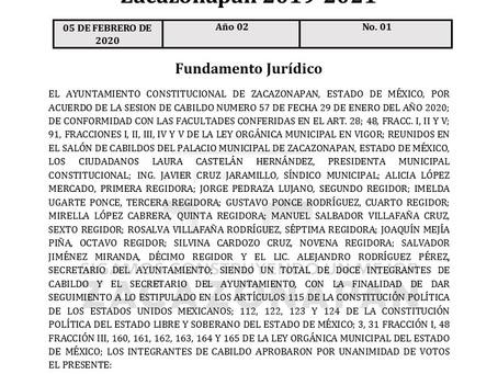 Gaceta No. 01 Bando Municipal 2020