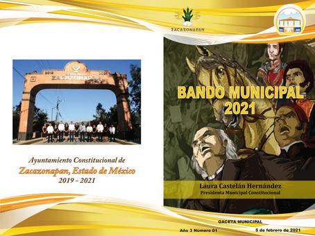 BANDO MUNICIPAL ZACAZONAPAN 2021