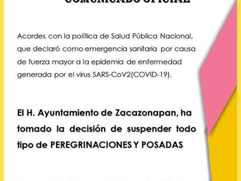 SUSPENSIÓN DE POSADAS Y PEREGRINACIONES.