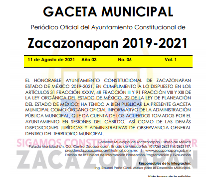 Gaceta No. 06 Código de Ética de los Servidores Públicos de la Administración 2019-2021 11-08-2021