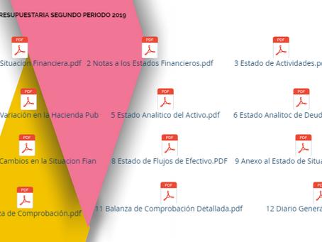 Información presupuestaria segundo periodo 2019