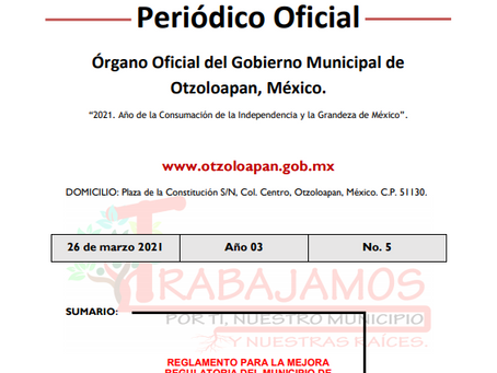 GACETA 5. REGLAMENTO PARA LA MEJORA REGULATORIA DEL MUNICIPIO