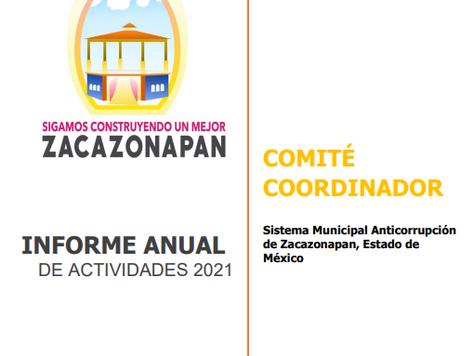 INFORME ANUAL DE ACTIVIDADES 2021 DEL COMITÉ COORDINADOR DEL SISTEMA MUNICIPAL ANTICORRUPCION