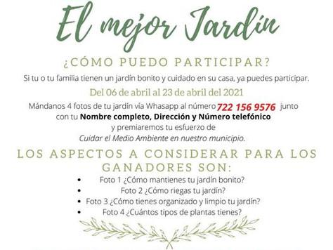 """CONVOCATORIA CONCURSO """"EL MEJOR JARDÍN""""."""