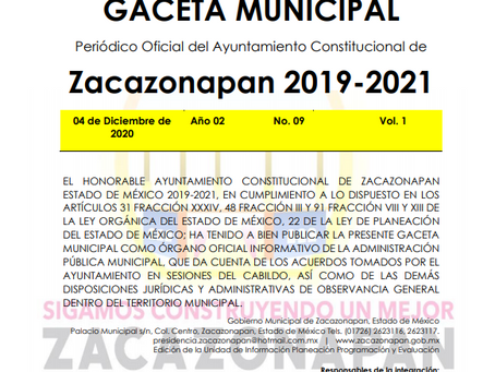 Gaceta No. 09 Segundo Informe de Gobierno 2020