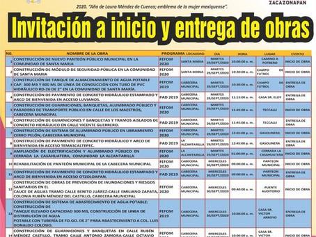 INVITACION A INICIO Y ENTREGA DE OBRAS