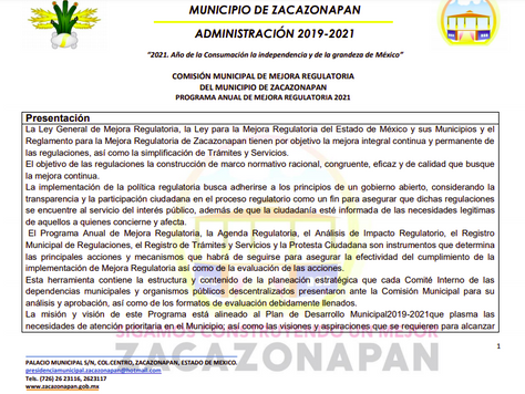 PROGRAMA ANUAL DE MEJORA REGULATORIA 2021