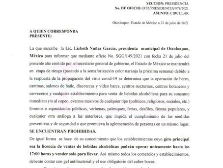 HORARIOS DE FUNCIONAMIENTO PARA ACTIVIDADES Y UNIDADES ECONÓMICAS CON MOTIVO DE LA ENFERMEDAD POR