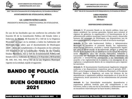 BANDO DE POLICIA Y BUEN GOBIERNO