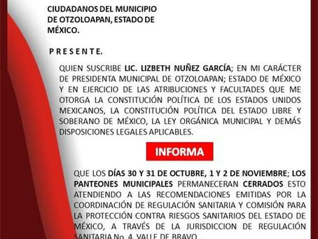 PANTEONES MUNICIPALES PERMANECERAN CERRADOS ESTOS DÍAS.