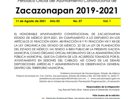 Gaceta No. 07 Código de Conducta de las y los Servidores Públicos del Municipio de Zacazonapan