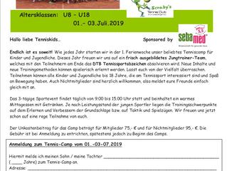 Tenniscamp für Kids und Jugendliche   U8-U18  01.– 03. Juli 2019