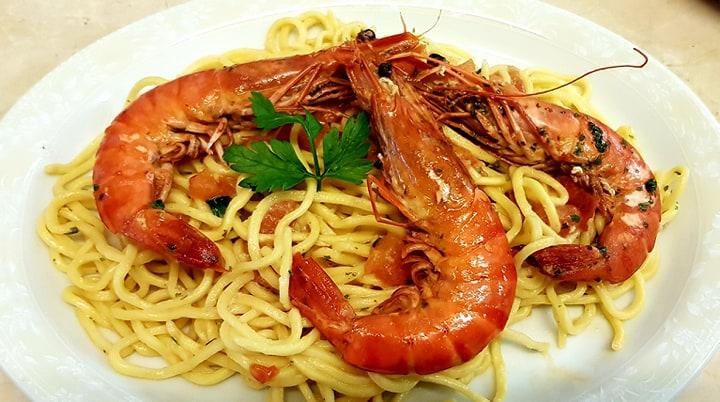 Spaghettis fraîches aux gambas La Caz'amis