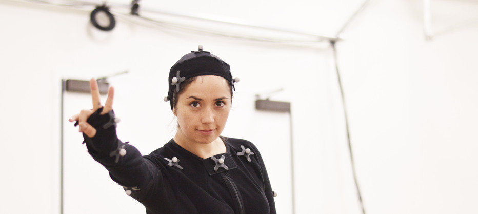 Student suited up for motion capture