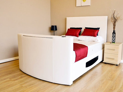 White Leather TV Bed