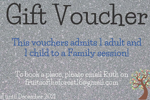Gift Voucher for 1 child/1 adult for family session in the woods