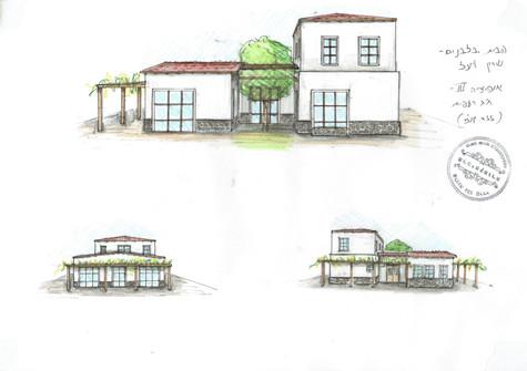 אדריכלית אלונה נבו סידי בית בצפון אבן בזלת חצר אור טבעי גג רעפים