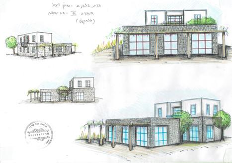 אדריכלית אלונה נבו סידי בית בצפון אבן בזלת חצר אור טבעי גג שטוח